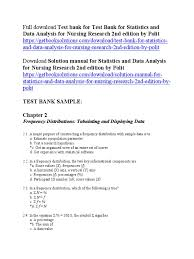 test bank for statistics and data analysis for nursing research
