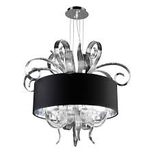 Glass Shade Chandelier Plc Lighting 4 Light Polished Chrome Chandelier With Black Fabric