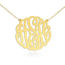 Monogram Initials Necklace Amazon Com Monogram Necklace 1 5 Inch Handcrafted 24k Gold Plated