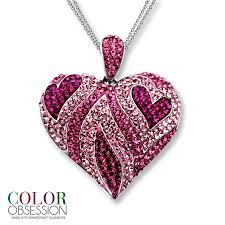 silver pink necklace images Pink jewelry kay pink swarovski elements heart necklace jpg
