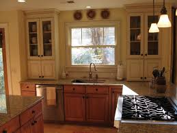 unforeseen upper kitchen cabinets mixing wood and painted cabinets