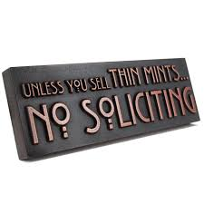 amazon com thin mints no soliciting sign 12x4 raised copper