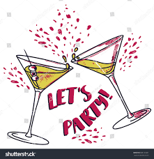 birthday martini clipart lets party poster two cocktails can stock vector 665137201
