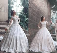 White Wedding Dresses 2017 Ball Gowns Arabic Wedding Dresses Applique Beaded Lace Long