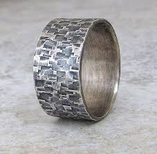 mens silver wedding rings silver hammered ring wedding band distressed wedding ring rustic