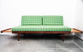 mid century modern daybed platform couch teak sofa vintage slide