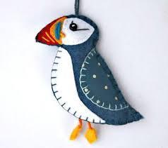 felt ornament felt puffin ornament felt bird ornament