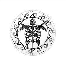 black tribal turtle round clock maori tattoo and maori tattoos