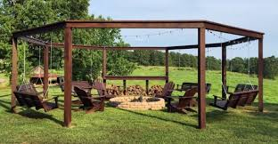 Firepit Chairs An Awesome Diy Pergola With A Pit Chairs And Swings