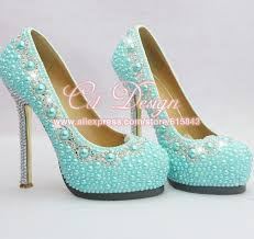 Light Blue High Heels New Arrival Ladies Crystal And Light Blue Pearls Wedding Shoes
