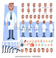 doctors and work hairstyles flat vector male doctor character your stock vector 660130036