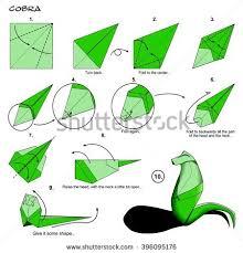 Origami Snake - origami animal snake cobra diagram stock illustration