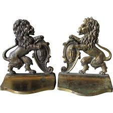 bookends lion pair of circa 1920s lion rant cast iron bookends