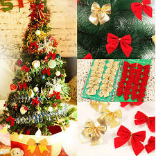 12pcs bag bows tree decorations gold bow