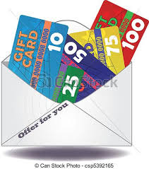 clipart vector of gift card mail illustration of gift cards in