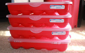 red and white plastic christmas storage containers with white