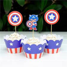 captain america cake topper 24pcs party decoration wedding cupcake wrappers favors capitan
