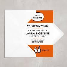 Wedding Save The Dates Penguin Book Wedding Save The Date Postcard Love U0026 Lilah