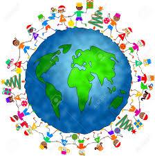 of diverse children celebrating holding