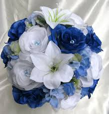 wedding flowers royal blue royal blue white roses and dreams