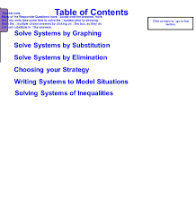 table of contents solve systems by graphing solve systems by