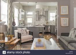 modern living kitchens mid century modern living room kitchen stock photo royalty free