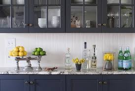 Blue Kitchen Backsplash by Navy Blue Kitchen Cabinets With Beadboard Backsplash