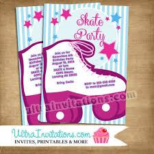 birthday skate birthday party invitations printable or prints