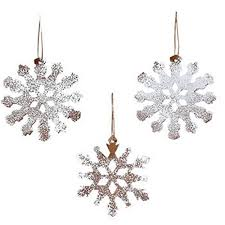 12 frosted white rustic snowflake ornaments tree