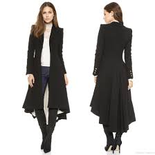 2017 autumn winter women long black maxi coat assymetrical coat
