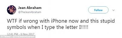 iphone users unable to type the letter u0027i u0027 daily mail online