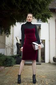 women u0027s black turtleneck burgundy velvet midi dress black