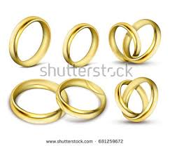 gold wedding rings pair vector 3d stock vector 687194209