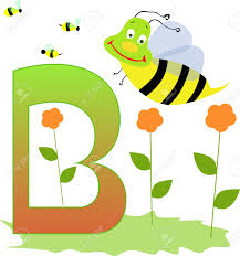 illustration of alphabet letter b with a cute little bee and