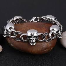 skull bracelet charm images Stainless steel charm skull bracelet christenza jpg