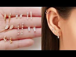 second earrings second piercing tiny earrings side earrings collections