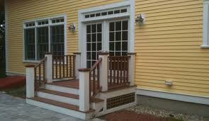 Mahogany Banister Deck Builders Contractors In Franklin Ma Composite Wood Porches