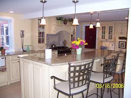 ceramic tile countertops kitchen island with stools lighting