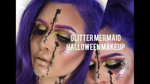 glitter mermaid halloween makeup tutorial youtube