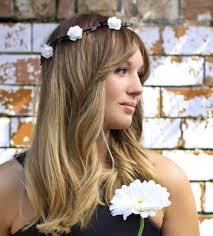 white flower headband white black leaf floral crown festival halo flower girl