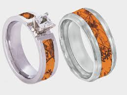 his and camo wedding rings orange camo band couples ring set with camo couples and