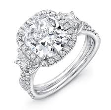 3 halo engagement rings uneek three engagement ring with 3 carat cushion cut center