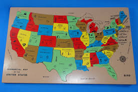 United States Map Puzzle by Sifo Commercial Map Of The United States Inlaid Wooden Puzzle