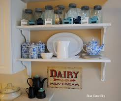 Blue And White Kitchen Rustic Maple Late Summer Shelf Vignette