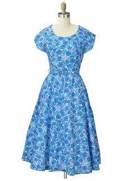 1950s blue floral day dress 50s true vintage tea length dresses
