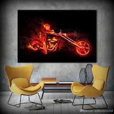 motorcycle home decor 2018 canvas wall art movie poster ghost rider motorcycle painting
