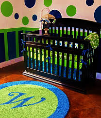 Bright Green Rug Bright Blue U0026 Lime Green Boys Nursery With Custom Initial Rug