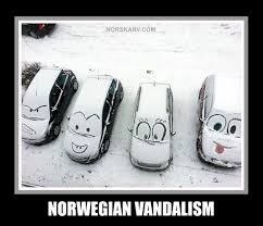 Norway Meme - norwegian vandalism meme norway funny humor snow cars from