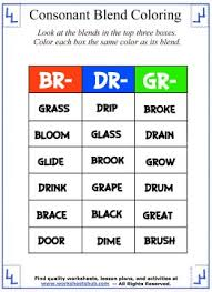 consonant blend worksheets identify u0026 color