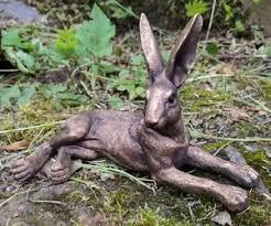 bronzed lying hare ornament fireplace figure leonardo